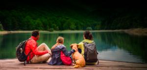 family on a lake